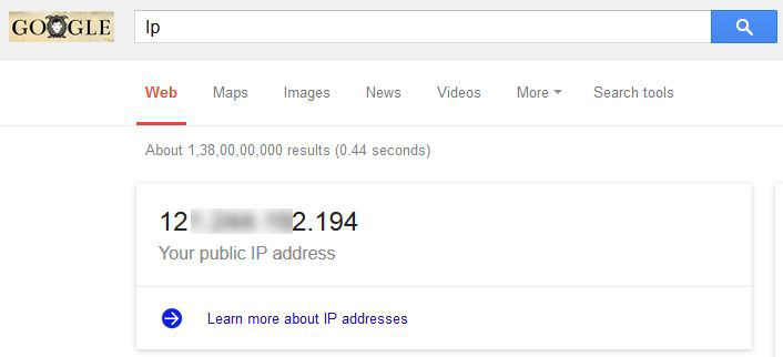 google search own Public Ip address
