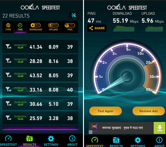 airtel4g speed test kochi 55Mbps
