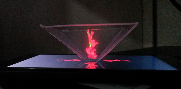 3d hologram pyramid output