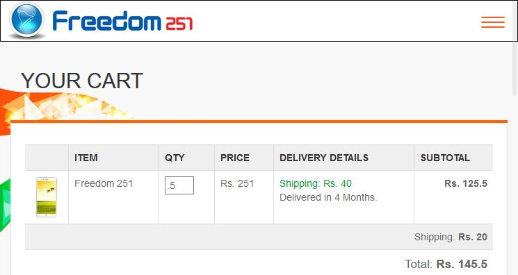 order even half a phone freedom251